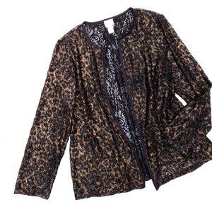 Chico's Leopard Print Lace Gold Black Open Jacket